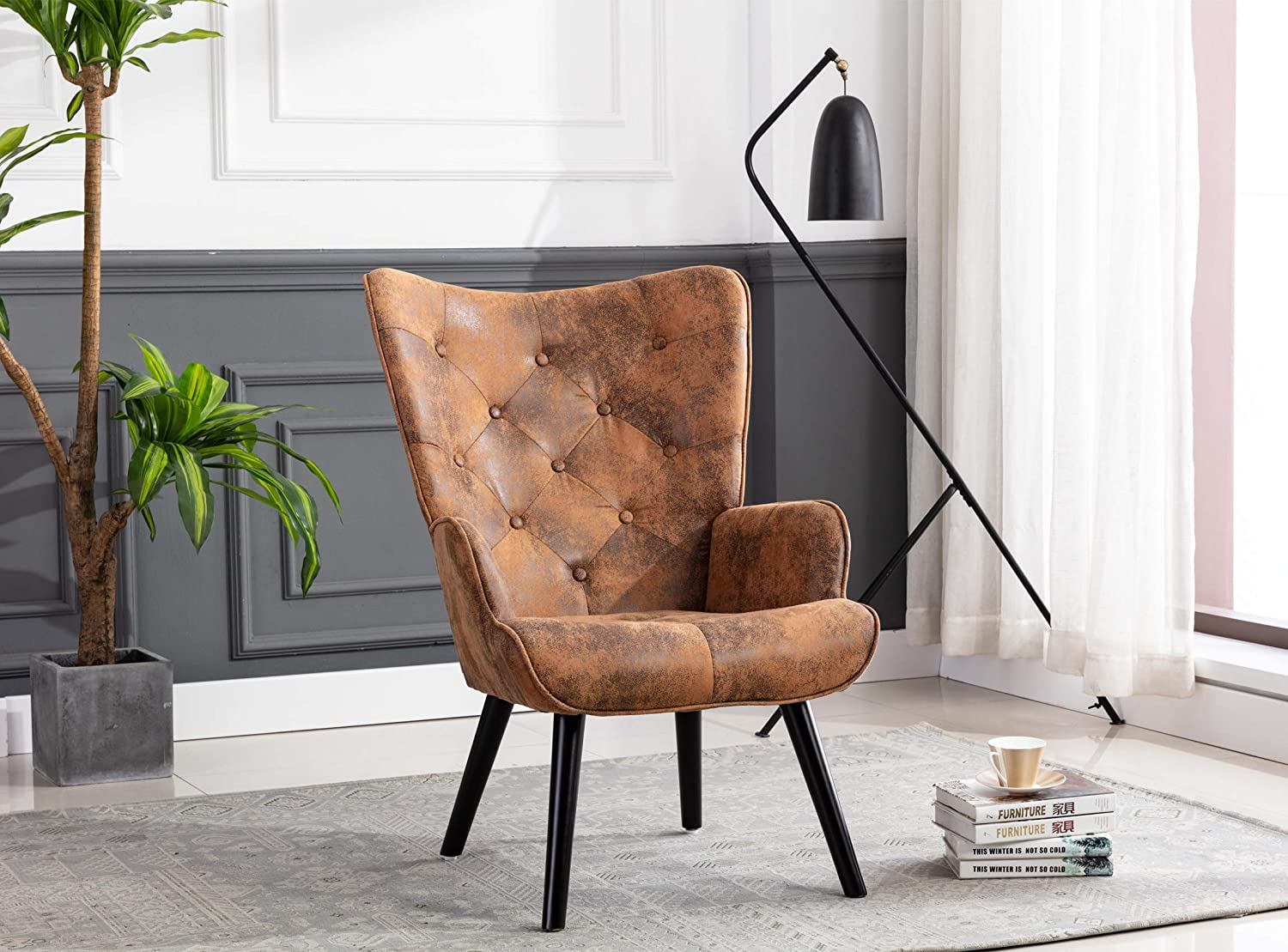 Brown Dolonm Rustic Accent Chair Vintage Wingback Chair Microfiber Cushioned Mid Century Tall Back Desk Chair with Arms Solid Wood Legs for Reading Living Room Bedroom Waiting Room