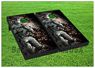 SOLDIER Cornhole Boards BEANBAG TOSS GAME w Bags US Military Army Navy USMC 227