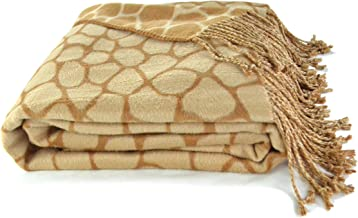 Empress Silk Animal Pattern Jacquard Throw Made from Bamboo Rayon - Giraffe