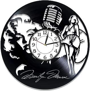 Kovides Marilyn Monroe Vinyl Clock 12 Inch Actress Birthday Gift Idea Marilyn Monroe Vinyl Record Wall Clock Blonde Bombshell Handmade Clock for Woman Marilyn Monroe Original Home Decor