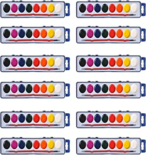 Watercolor Paint Sets Bulk Set of 12 With 8 Washable Colors, Quality Paintbrushes for Kids and Adults - Perfect for Birthd...