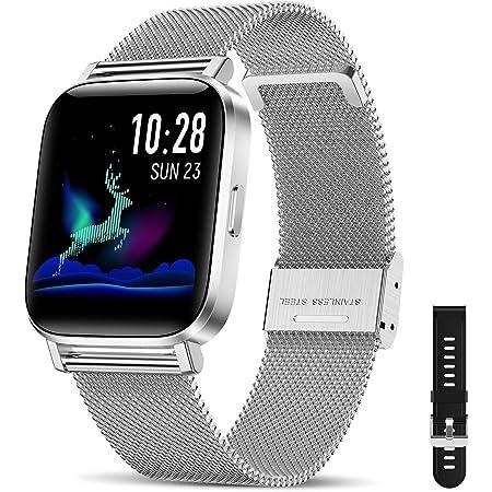 Canmixs Smartwatch Orologio Uomo Donna Impermeabile IP68 Bluetooth Fitness Smart Watch Cardiofrequenzimetro da polso Contapassi Acciaio Digitale 1,54'' Touch Sportivo Activity Tracker per Android iOS