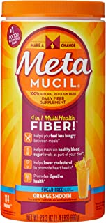Metamucil Fiber, 4-in-1 Psyllium Fiber Supplement, Sugar-Free Powder, Orange Smooth Flavored Drink, 114 Servings (Packagin...