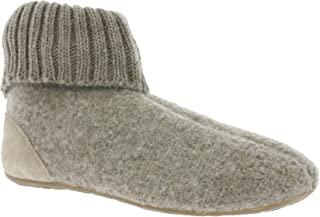 Boiled Wool Slipper Boots with Rubber Sole | Beige