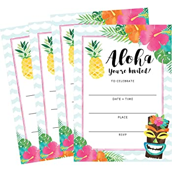 Fill in Tropical Hawaiian Summer Party Invitations 8 Count Big Dot of Happiness Tiki Luau
