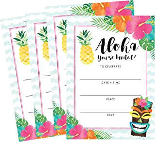 50 Hawaiian Luau Summer Swim Pool Party Invitations for Children, Kids, Teens & Adults, Summertime Birthday Cookout Invitation Cards, Boys & Girls Floral Fill-in Invite, Family Reunion BBQ Invites