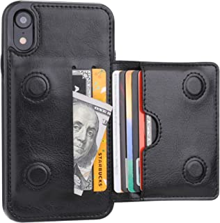 iPhone XR Wallet Case Credit Card Holder, KIHUWEY Premium Leather Kickstand Durable Shockproof Protective Cover iPhone XR 6.1 Inch(Black)