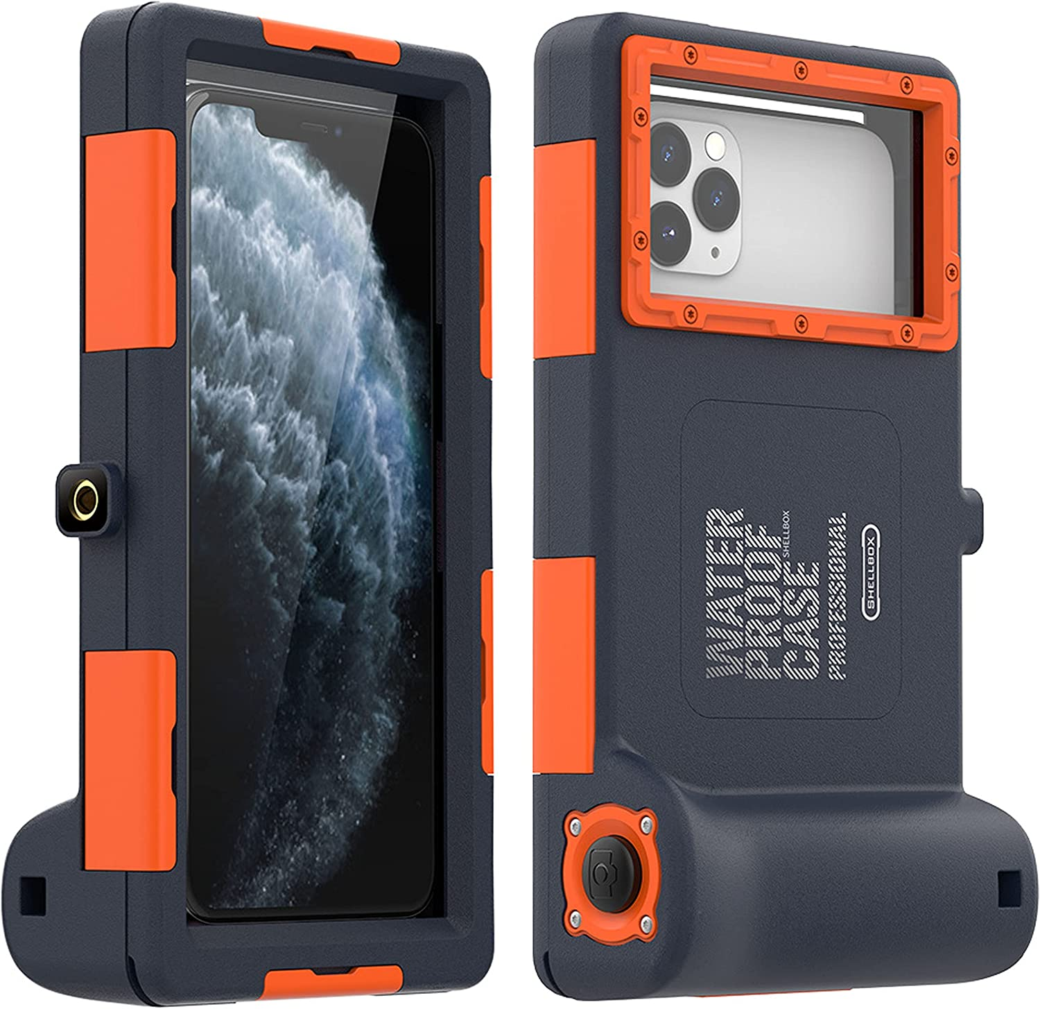 Compatible with iPhone 13/13Pro/13Pro Max/13Mini Case, Water-Resistant to 15 Meters Phone Shell, Phone Back Cover for Diving & Underwater Photography (Orange,13 Mini (5.4 inches))
