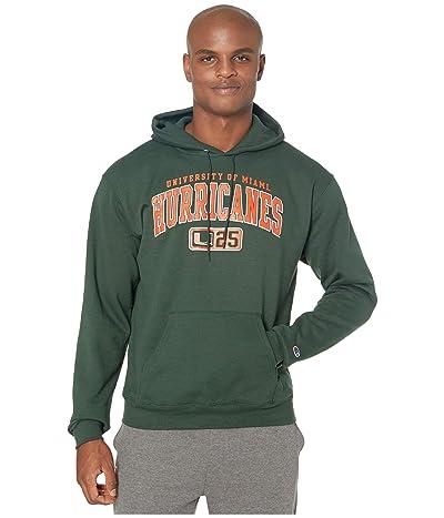 Champion College Miami Hurricanes Powerblend(r) Fleece Hoodie (Dark Green 2) Men