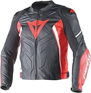 Dainese Avro D1 Mens Leather Jacket Black/Red/White 58 Euro/48 USA