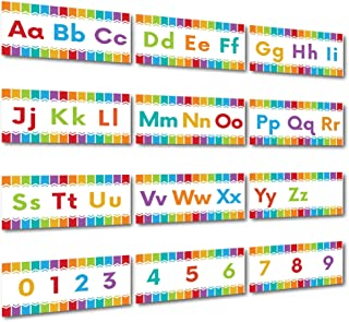 Sproutbrite Alphabet Wall Classroom Decorations and Bulletin Board Border Set Variation Including Numbers 0-9 (White)