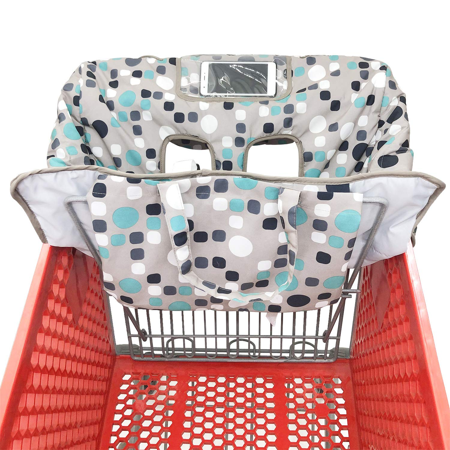 Portable 2-in-1 Grocery Cart Seat Cover and Baby Highchair Cover Black Chevron