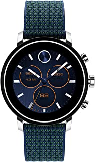 Movado Connect 2.0 Unisex Powered with Wear OS by Google Stainless Steel and Navy Velcro Fabric Smartwatch, Color: Navy (Model: 3660030)