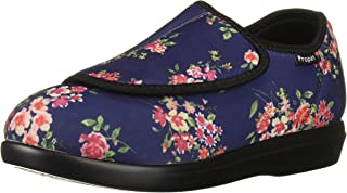 Propet Women's Cush 'N Foot Slipper, Navy Blossom, 10 XX-Wide