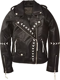Vegan Leather Moto Jacket with Lacing Detail in Second Chances (Big Kids)
