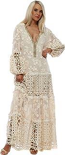 5264d7078 Laurie & Joe Beige Floral Applique Lace Maxi Dress