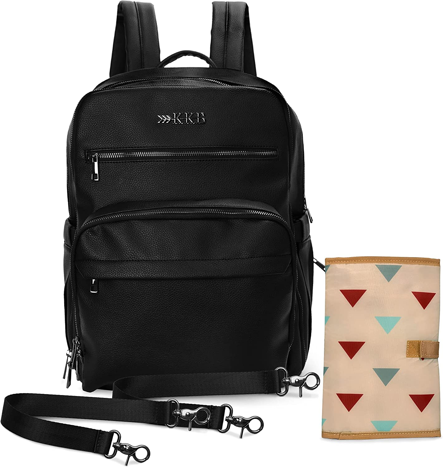 KKB Vegan Leather Diaper Bag Large Backpack, Equipped with Changing Pad, Stroller Straps and Elastic Strap for Travel