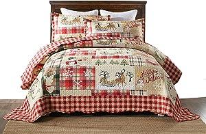 MarCielo 3 Piece Christmas Quilt Set, Rustic Lodge Deer Quilt Bedspread Throw Blanket Lightweight Bedspread Coverlet Comforter Set BY010 (Queen)