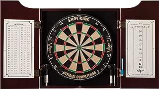 Viper by GLD Products 40-0219 Hudson Sisal/Bristle Steel Tip Dartboard & Cabinet Bundle: Standard Set (Shot King Dartboard)