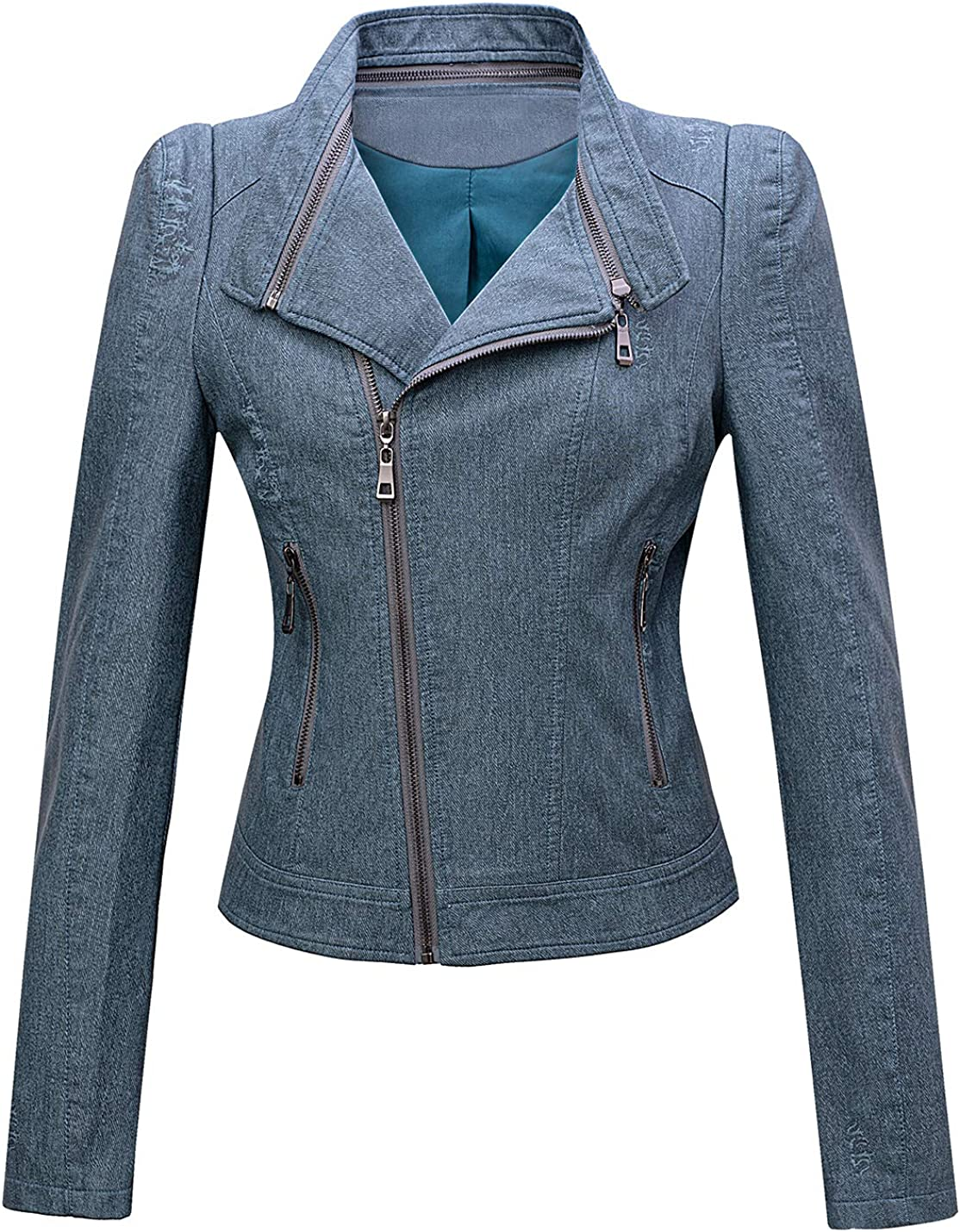 Tanming Womens Casual Slim Denim Look Faux Leather Zipper Up Moto Biker Short Jacket