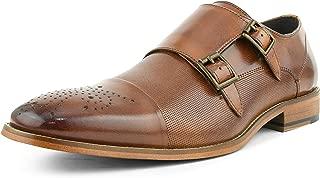 Asher Green AG1101 - Men's Dress Shoes, Formal Mens Shoes - Genuine Calf Leather Shoes for Men - Cap Toe Double Monk Strap