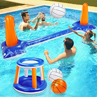 "Pool Volleyball Set, 115"" Inflatable Pool Float Set Include Basketball Hoop Set & Balls Floating Swimming Pool Toy Pool Vo..."