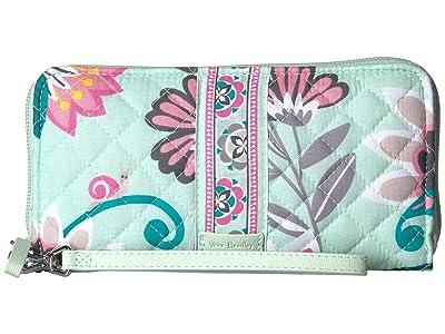 Vera Bradley Iconic RFID Accordion Wristlet (Mint Flowers) Wristlet Handbags