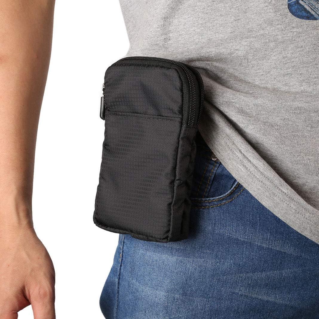 Youkii - Bolsa de cinturón con clip para teléfono móvil, bolsa universal de 6 pulgadas, para teléfono móvil, con bolsas de plátano deportivo, bolsa portátil (negro)
