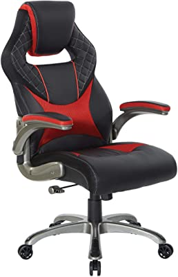 OSP Home Furnishings Oversite Adjustable Gaming Chair in Faux Leather with Thick Padded Seat and Built-in Lumbar Support, Red Accents