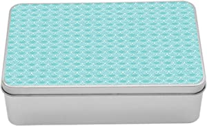 """Ambesonne Mermaid Scale Metal Box, Pastel Colored Composition with Doodle Elements Swirls and Curls Pattern, Multi-Purpose Rectangular Tin Box Container with Lid, 7.2"""" X 4.7"""" X 2.2"""", Pale Blue White"""