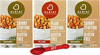Holiday Variety Pack, Gluten Free Stuffing Mix Includes: (2) Aleias Savory Herb Stove Top Stuffing, 10 Oz. and (1) Aleias Gluten Free Plain Stuffing, 12 Oz. With a Bonus Measuring Spoon Included.