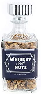 Man Crates Whiskey Nuts Decanter – 18 oz. of Whiskey-Infused Mixed Nuts – Gourmet Peanuts, Almonds, Cashews – Reusable Cut Glass Decanter – Great Gifts for Men
