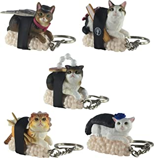 Clever Idiots Nekozushi Sushi Cat Keychain, Version 2 - Blind Box Includes 1 of 5 Collectable Figurines - Features a Detachable Keyring - Authentic Japanese Design - Durable Plastic