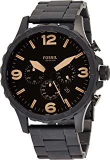 Fossil Nate Men's Amber Dial Stainless Steel Band Chronograph Watch - JR1356