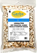 GERBS Unsalted Jumbo Whole Pumpkin Seeds, 32 ounce Bag, Roasted, Top 14 Food Allergy Free, Non GMO, Vegan, Keto, Paleo Fri...