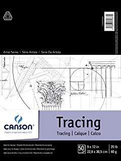 """Canson Foundation Tracing Paper Pad for Ink, Pencil and Markers, Fold Over, 25 Pound 9"""" x 12"""" 100510960"""