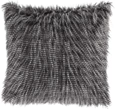 Madison Park Edina Pluffy Faux Fur Mohair Decorate Square Pillow with Insert Luxury for Sofa, Bed, Couch, 20x20, Black