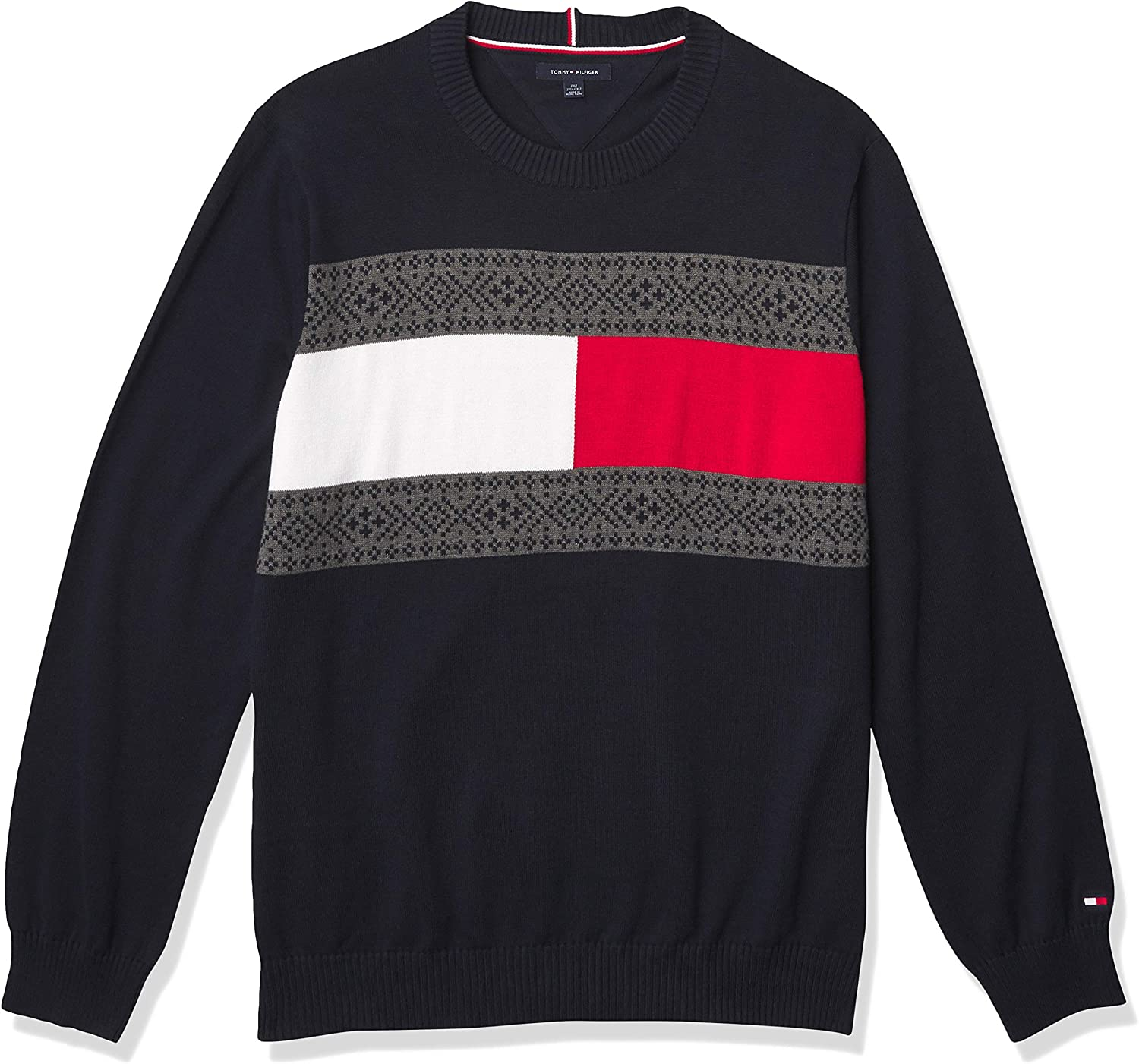 Tommy Hilfiger Men's Big and Tall Tommy Flag Crewneck Sweater
