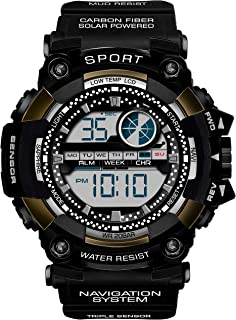 Lamkei Black Dial Black Silicone Strap Digital Multifunction Watch for Men