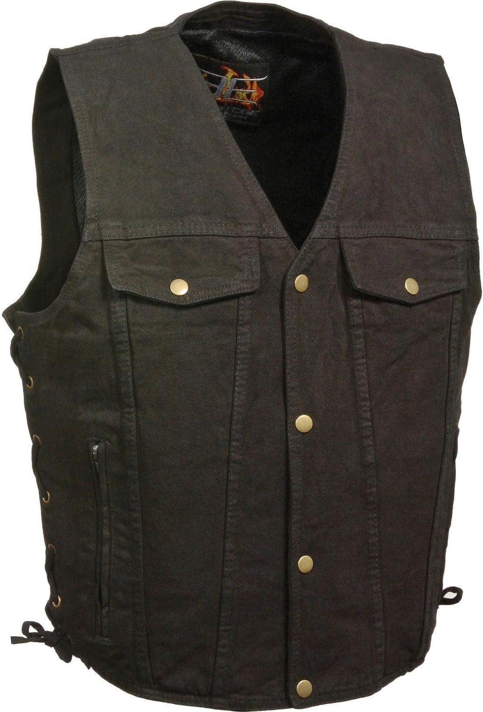 Milwaukee Leather Men's Side Lace Denim Vest W/Chest Pockets Big 4X Black 4X