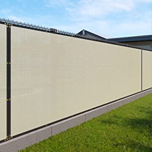 Windscreen4less Heavy Duty Privacy Screen Fence in Color Beige with White Stripes 5' x 50' Brass Grommets 150 GSM - Customized