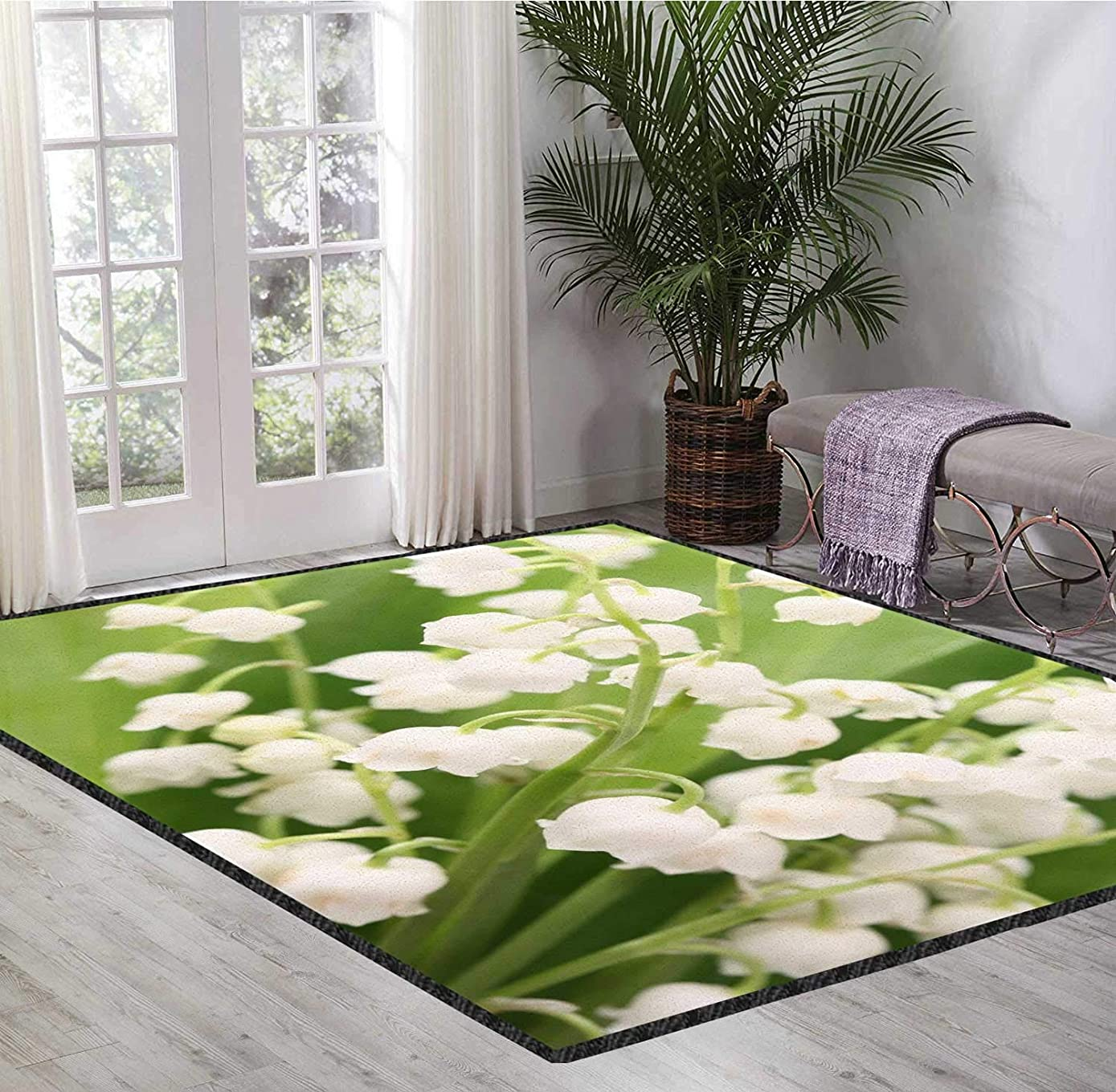 Throw Carpet Rugs Green Crystal Style Natural Safety Material Blue Sky and White Clouds Landscape Protect Your Horizons and Relax 4X6 Ft