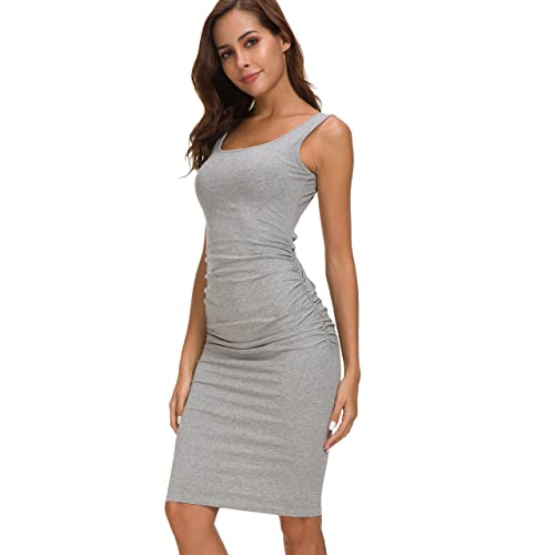 37d9fd457c8b Missufe Women's Ruched Casual Knee Length Bodycon Sundress Basic Fitted  Dress