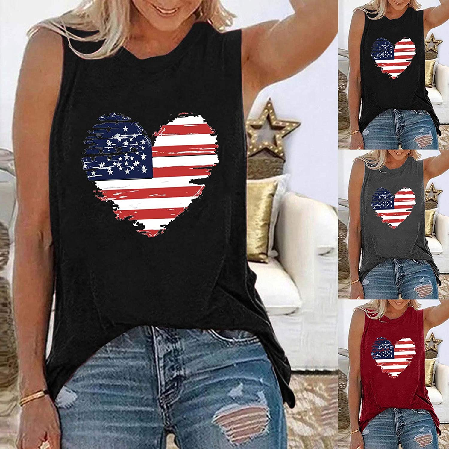 957 Women Tank Tops America Flag Printing Sleeveless Tank Independence Day T Shirts O-Neck Casual Vest