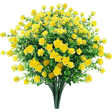 6 Bundles Artificial Flowers Outdoor Fake Flowers for Decoration UV Resistant No Fade Faux Plastic Plants Garden Porch Window Box Décor (Yellow)