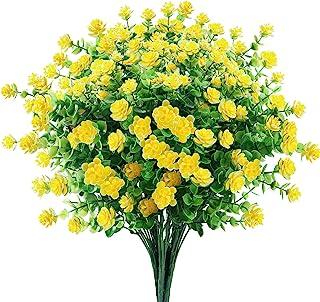 6 Bundles Artificial Flowers Outdoor Fake Flowers for Decoration UV Resistant No Fade Faux Plastic Plants Garden Porch Win...