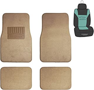 FH Group F14402 Premium Carpet Floor Mats with Heel Pad (Beige) Full Set with Gift - Universal Fit for Cars Trucks and SUVs