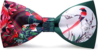 Mens Pre-Tied Satin Bowtie Adjustable Length Solid Color Fashion Patterned bow tie(Flowers and bird)