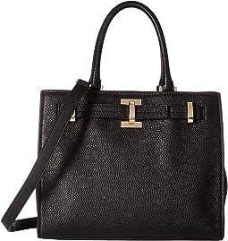 Faye Pebble Leather Satchel