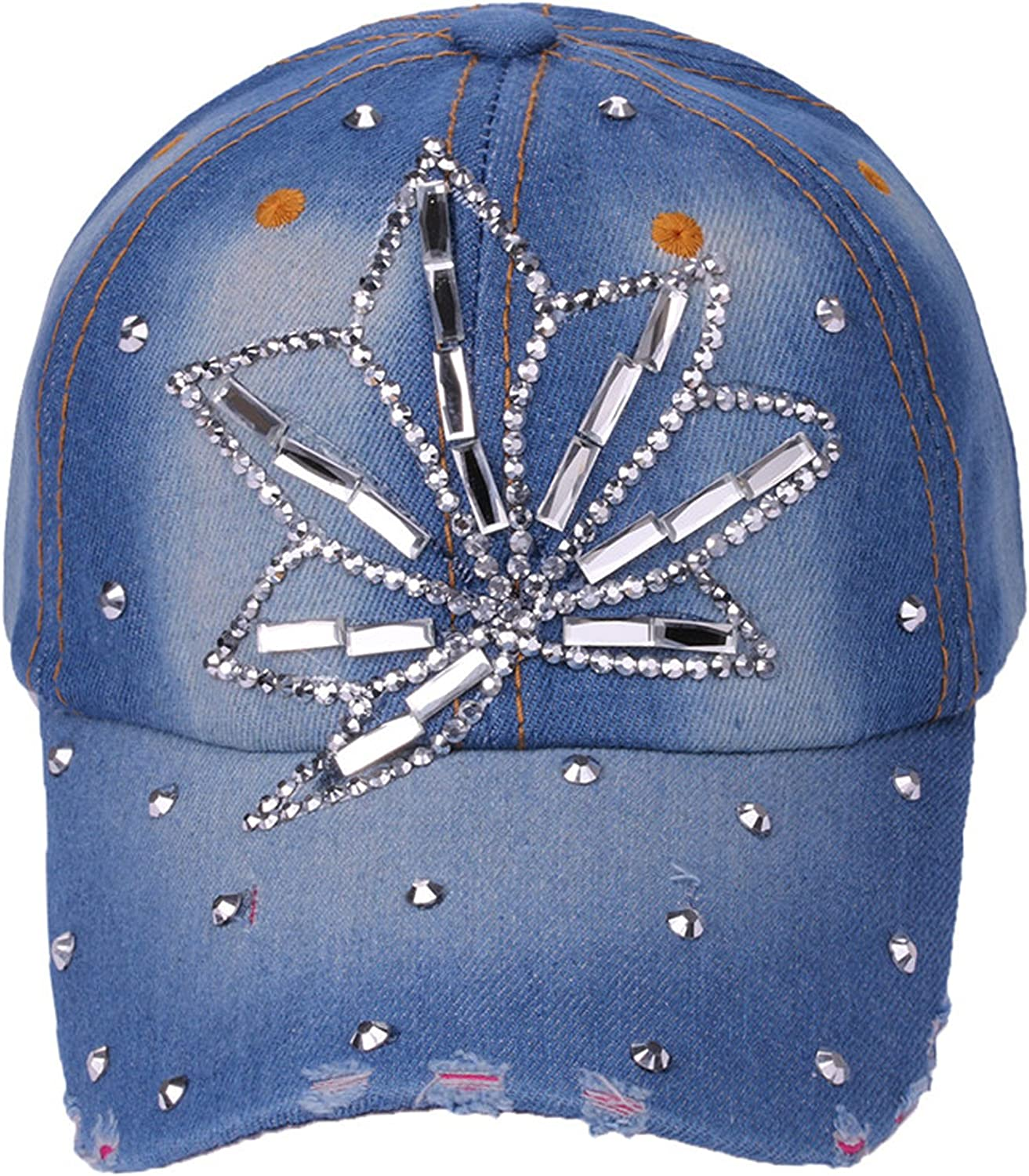 Deer Mum Women Denim Jean Bling Cross Baseball Cap